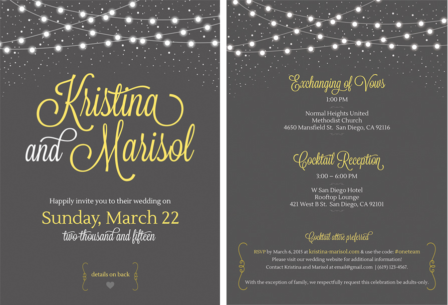 San Diego Wedding Invitation Design