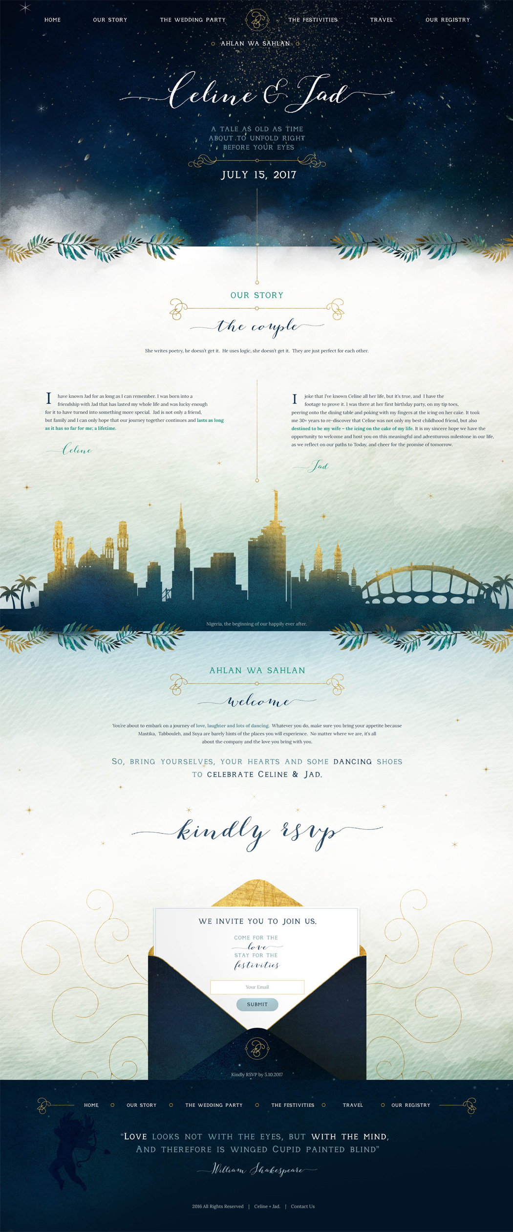 San Diego Multi-Event Wedding Website Design - Celine & Jad